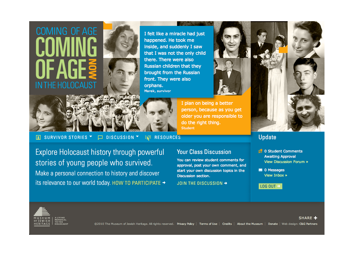 Project image 1 for Coming of Age in the Holocaust, Coming of Age Now Website, Museum of Jewish Heritage