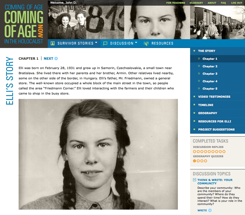 Project image 2 for Coming of Age in the Holocaust, Coming of Age Now Website, Museum of Jewish Heritage