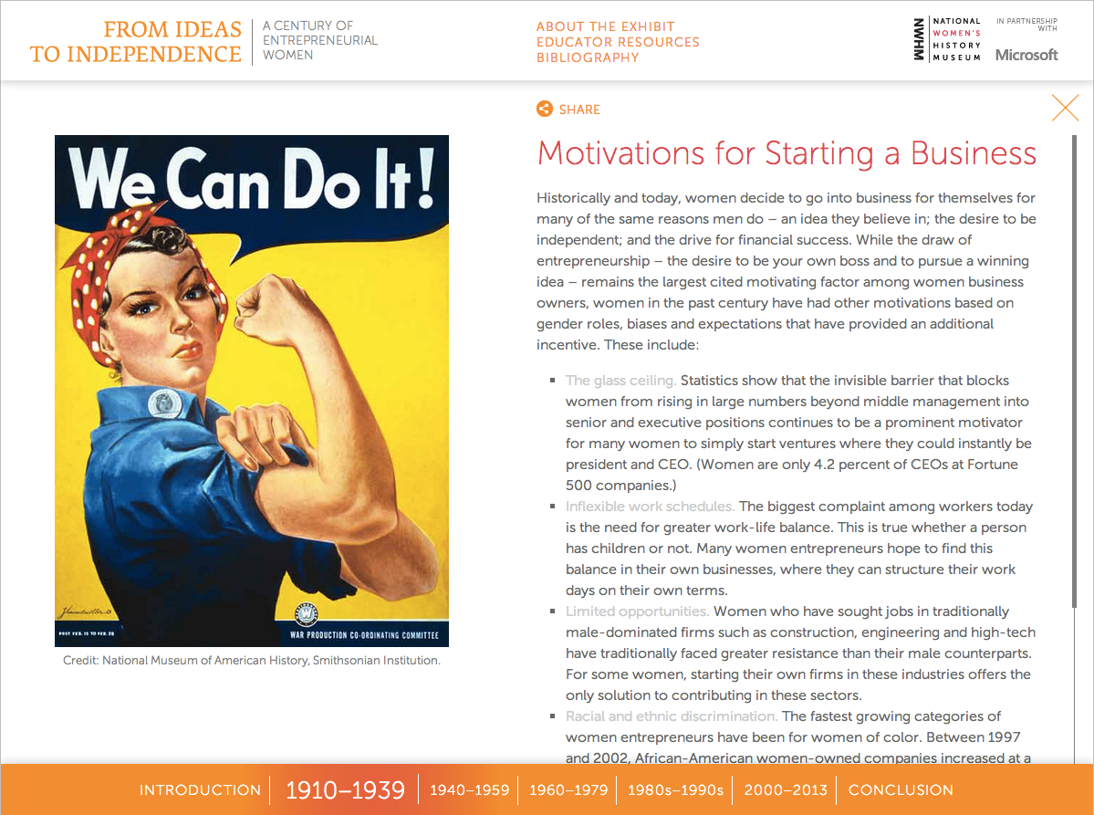 Project image 2 for From Ideas to Independence: A Century of Entrepreneurial Women, National Women's History Museum
