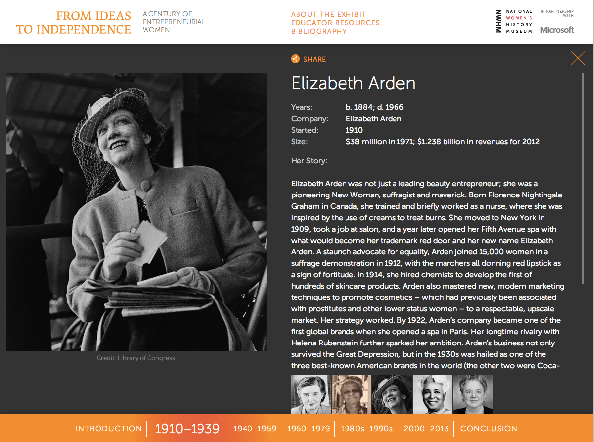 Project image 3 for From Ideas to Independence: A Century of Entrepreneurial Women, National Women's History Museum