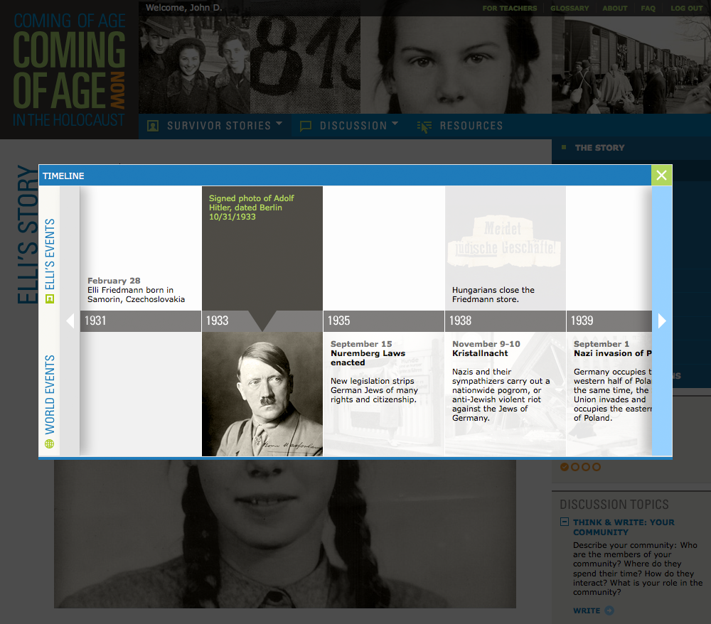 Project image 4 for Coming of Age in the Holocaust, Coming of Age Now Website, Museum of Jewish Heritage