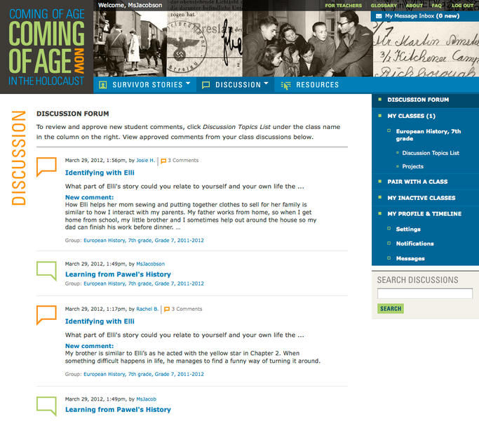 Project image 5 for Coming of Age in the Holocaust, Coming of Age Now Website, Museum of Jewish Heritage