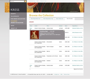 Project image 4 for Website, Samuel H. Kress Foundation