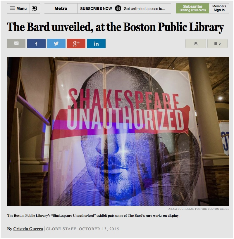 Boston Globe Article on Shakespeare