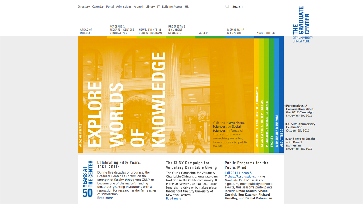 Project image 2 for The Graduate Center Website, City University of New York