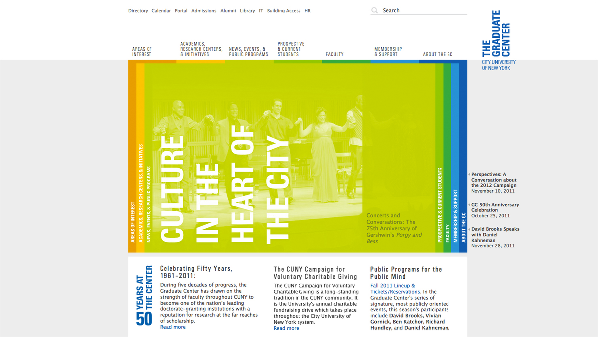 Project image 4 for The Graduate Center Website, City University of New York
