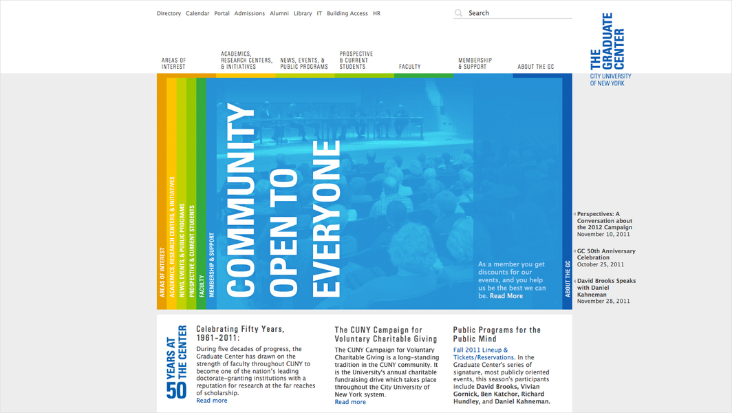 Project image 7 for The Graduate Center Website, City University of New York