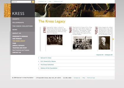 Project image 7 for Website, Samuel H. Kress Foundation