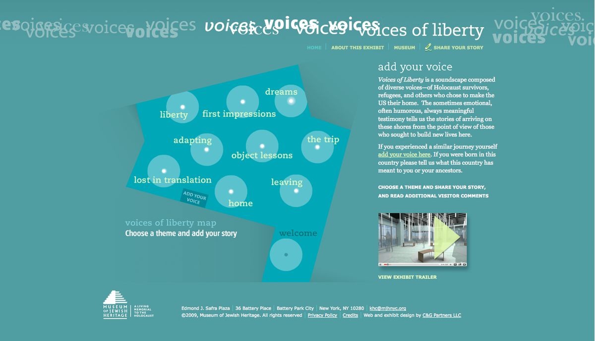 Project image 2 for Voices of Liberty Interactive Experience, Museum of Jewish Heritage