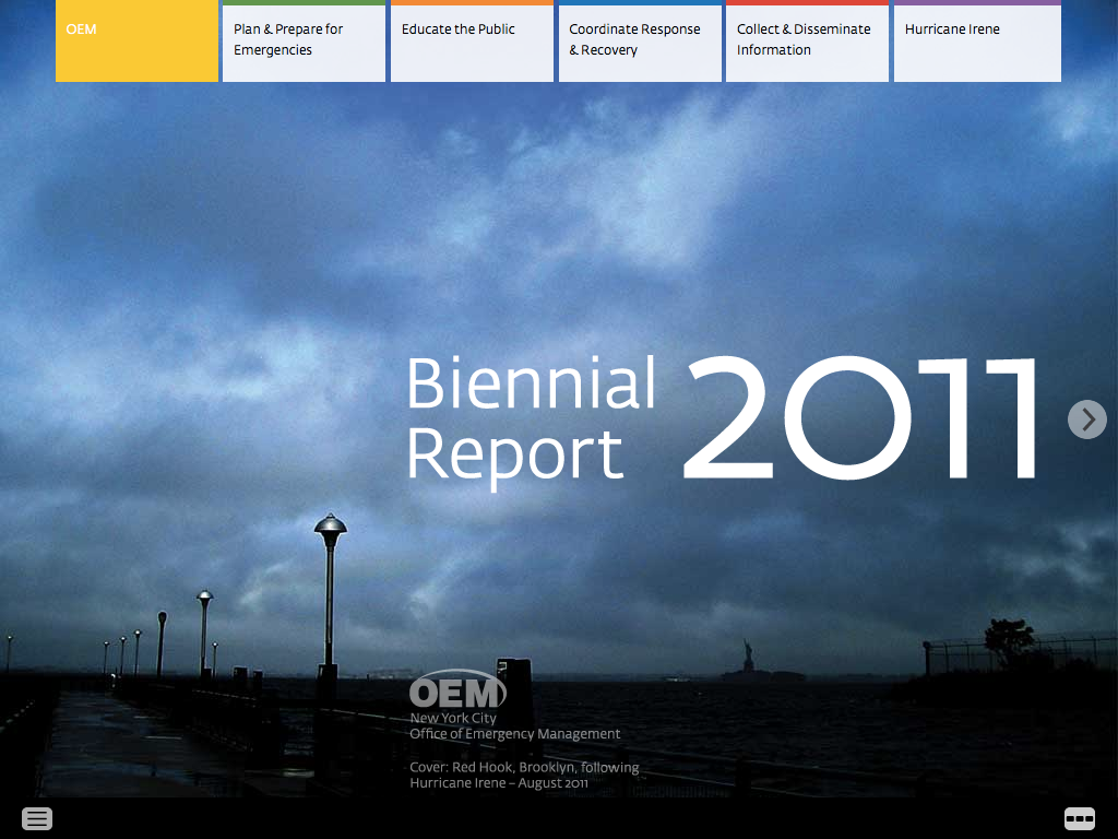 Project image 1 for 2011 Biennial Report, New York City Office of Emergency Management