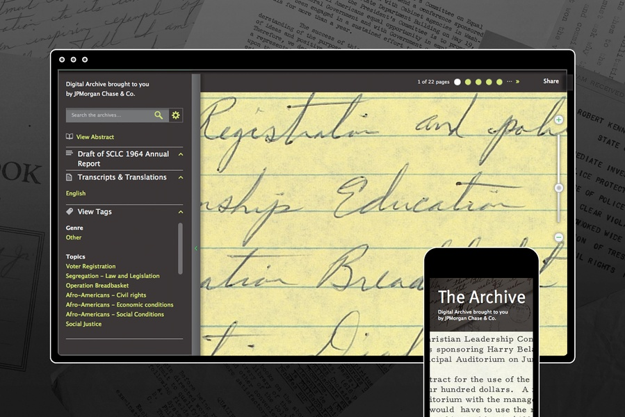 Project image 5 for King Center Archive Website
