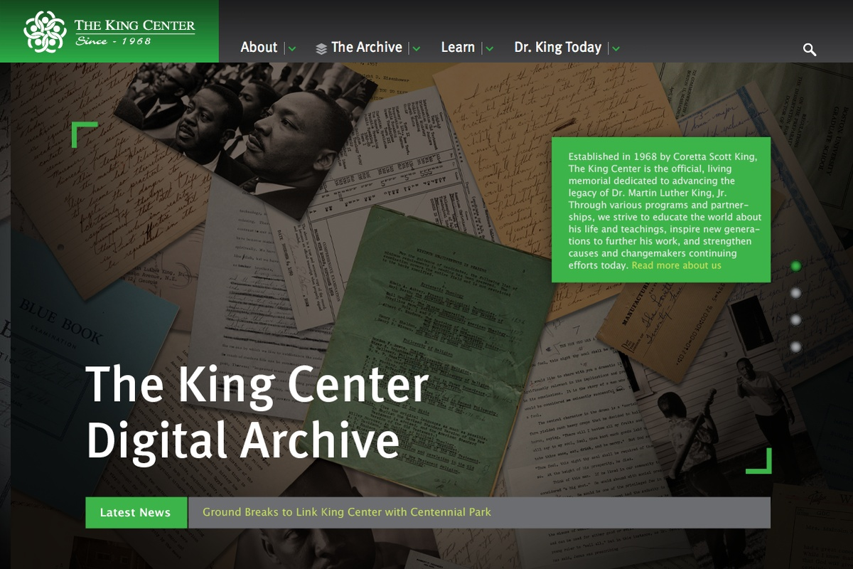 Project image 2 for King Center Archive Website